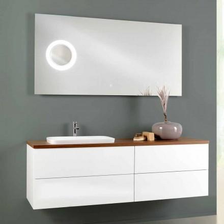 Upphängt badrumsskåpkomposition i trä 4 lådor och lyxspegel - Renga