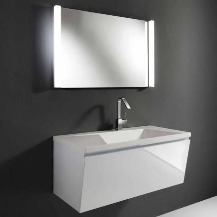 Vit modern design upphängd badrumsmöbelkomposition med spegel - Desideria