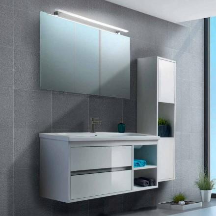 Badrumsskåp 100 cm, spegel, tvättställ och kolonn - Becky