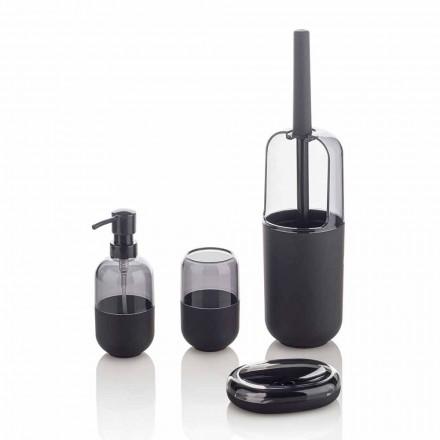 Modern sammansättning av badrumstillbehör i plast och svart gummi - Noto