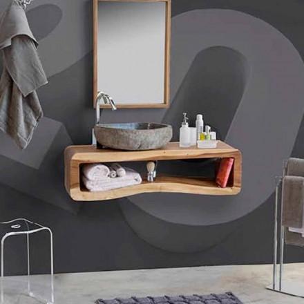 Upphängd sammansättning av badrumsmöbler i modern teak - Kristi