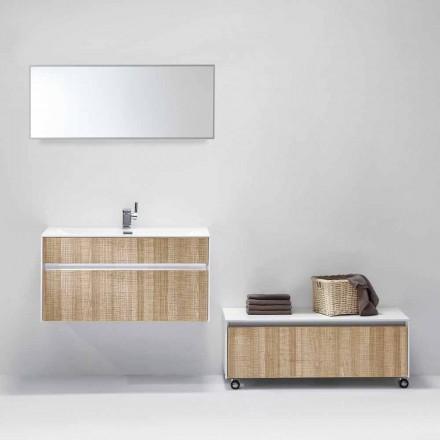 Suspenderad sammansättning av badrumsmöbler med modern designspegel - Rossella