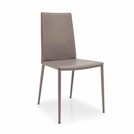 Connubia Calligaris Boheme läder stol, modern metal, 2 st