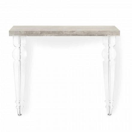 Väggkonsolbord i gråvitt trä eller Corten och plexiglas - Leopardi