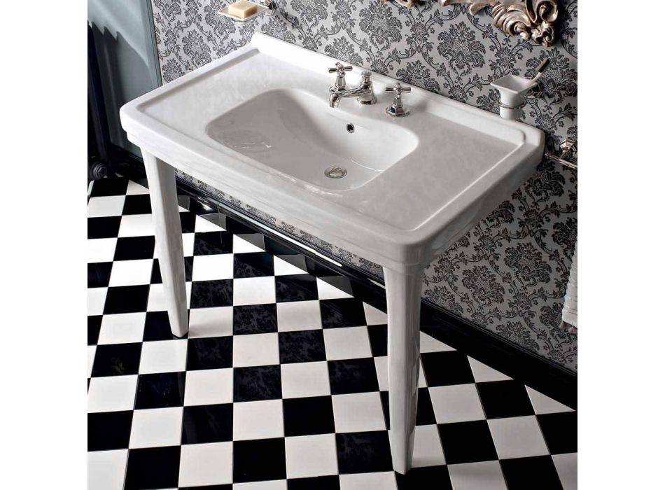 105 cm Vintage vit keramisk badrumskonsol med fötter, tillverkad i Italien - Marwa