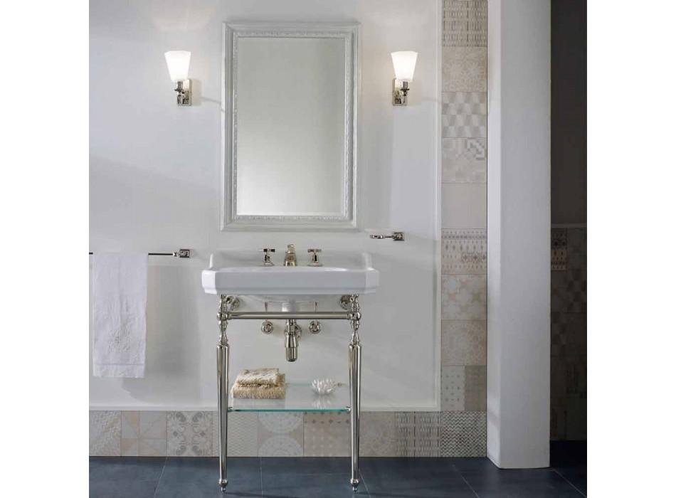 65 cm keramiskt badrumskonsol med metallfot tillverkad i Italien Nausica