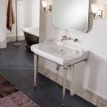 90 cm Vintage badrumskonsol, vit keramik, med fötter tillverkade i Italien - Nausica