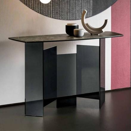 Design vardagsrumskonsol i keramik och glas tillverkad i Italien - slumpmässigt