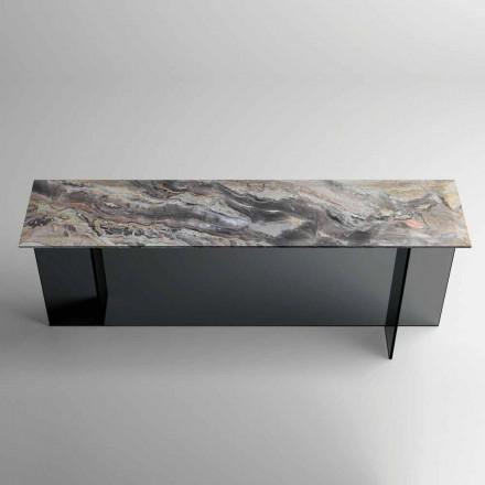 Designkonsol med marmortopp och glasbas Tillverkad i Italien - Molino
