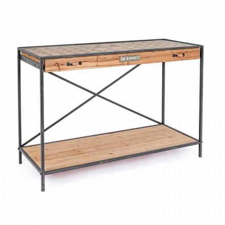 Konsolskärm i furu, stål och designglas - Frigerio