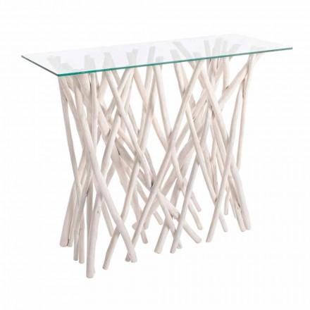 Konsol i blekt teak och lyxig designtopp - Francesca