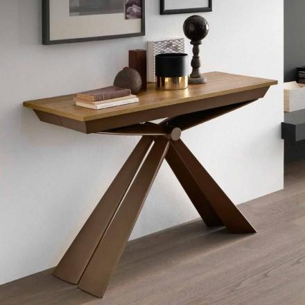 Bordskonsol i trä och metall utdragbar upp till 295 cm Tillverkad i Italien - Timedio