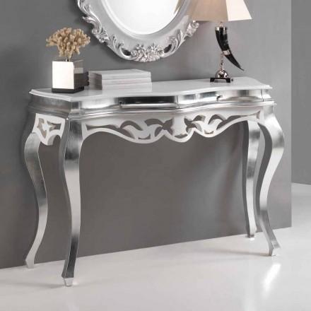 Console klassisk stil trä, silver finish och vita Kreta