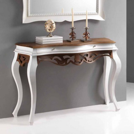 Console klassisk stil trä, antik vit finish och valnöt Creti