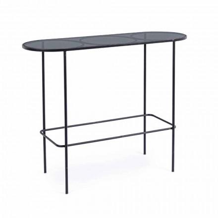 Konsol i härdat glas och stål av minimal modern design - Linate
