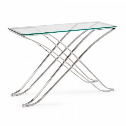 Konsol i härdat glas och stålbas Modern design Homemotion - Zafira
