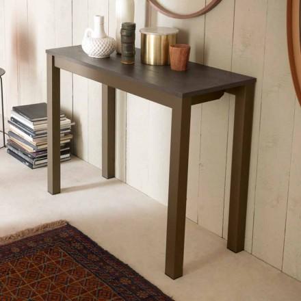 Utdragbar modern bordskonsol i ek och metall Tillverkad i Italien - Nappo