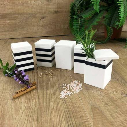 Kryddbehållare med lock i vit och svart Corian 5 ytor - kryddig