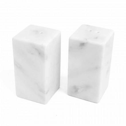 Salt- och pepparbehållare i vit Carrara-marmor tillverkad i Italien - Julio