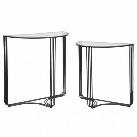 Par modern designkonsoler i järn och glas - Ferdie