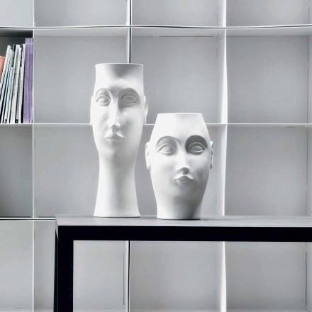 Par ansiktsformade keramiska ornament, tillverkade i Italien - Visage