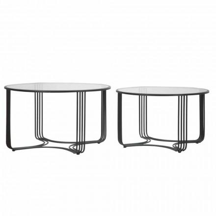Par moderna runda låga kaffebord i glas och järn - Mirna