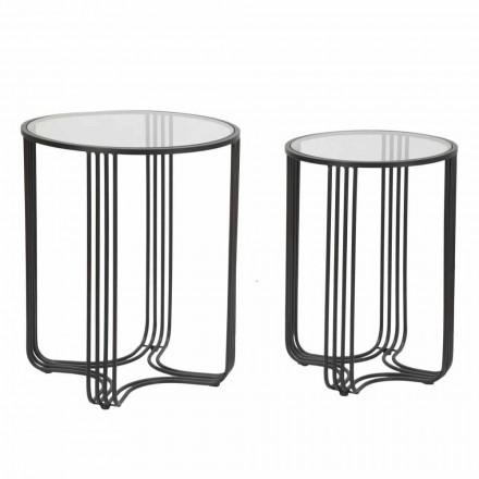 Par runda kaffebord i glas och järn modern design - Ezra
