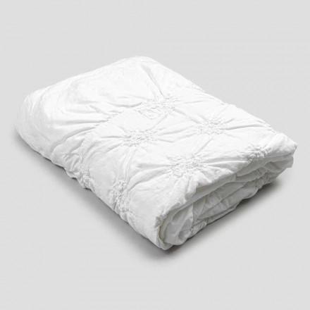 Queen Bed Cover i linne och bomull med elegant lyxbroderi - Patrizio