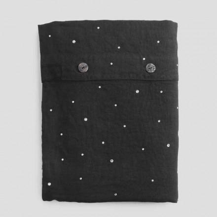 Påslakan i svart linne med kristaller lyxig dubbelsäng - Damante