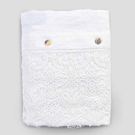 Linne dubbelt täckeöverdrag med spetsdroppar behållarsäck - Amadeus