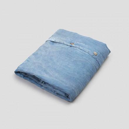 Ljusblått linne dubbelt påslakan med knappar och platt - Ljuba