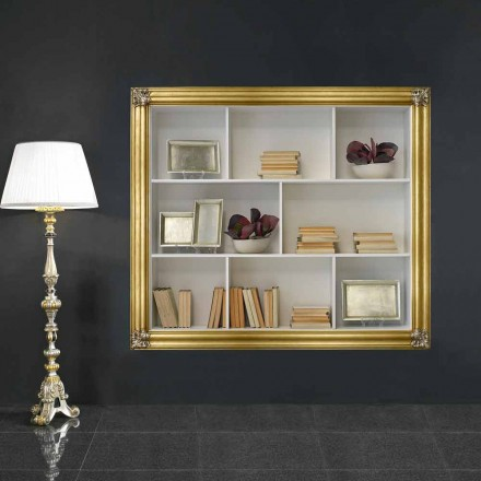 Väggmonterad bokhylla i gelotonträ producerad i Italien Giulio