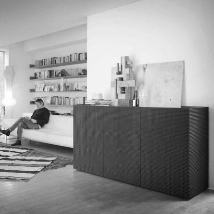 Tron modern design svart med 2 dörrar och utdragbar låda Flora