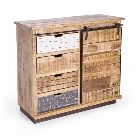 Skänk i trä och stål med dörr och 4 lådor industriell stil - Renza