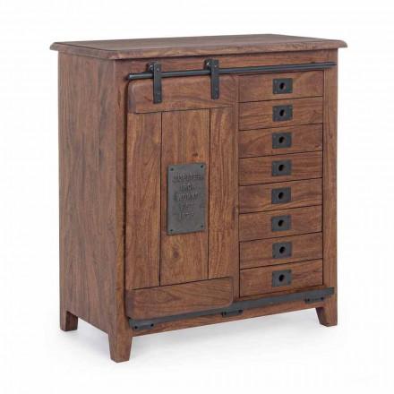 Skänk i trä och Mdf med stålinsatser och dekorationer Homemotion - Pablo