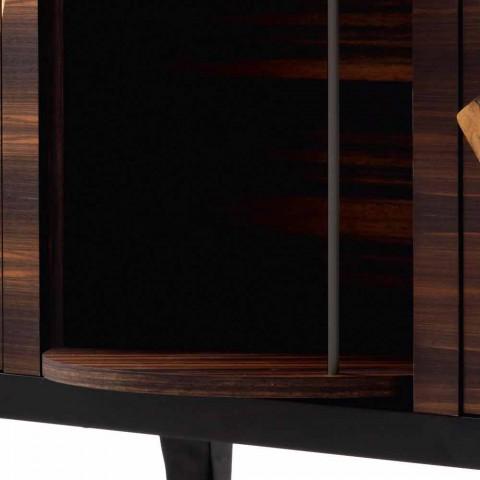 Grilli Zarafa modern 3-dörr skänk i valnöt och ebenholts trä