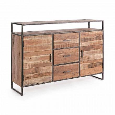 Modern skänk med struktur i Acacia Wood och Steel Homemotion - Posta