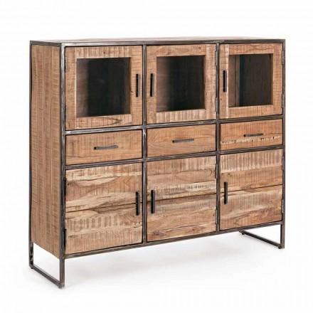 Skänk i industriell stil i Acacia Wood and Steel Homemotion - Zompo
