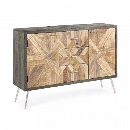 Sideboard i vintagestil med trästruktur och ståldetaljer - Adiva