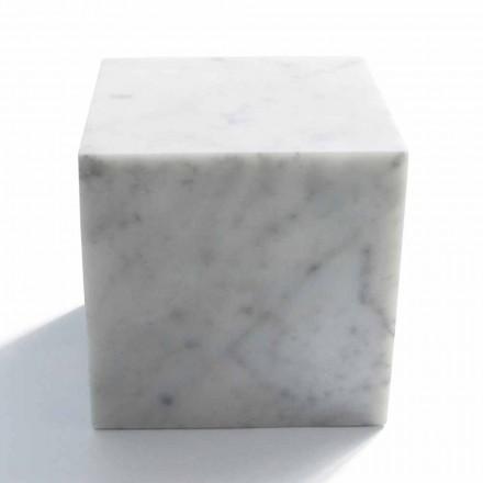 Cube Design Pappersvikt i Satinvit Carrara Marble Tillverkad i Italien - Qubo