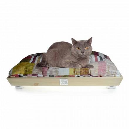 Hundar och katter Kennel i massivt trä med tvättbar kudde tillverkad i Italien - Juma