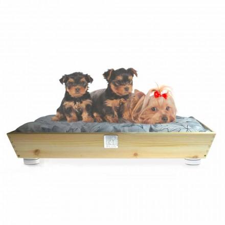 Hundar och katter Kennel i massivt trä med handtag och kudde tillverkad i Italien - Lyn