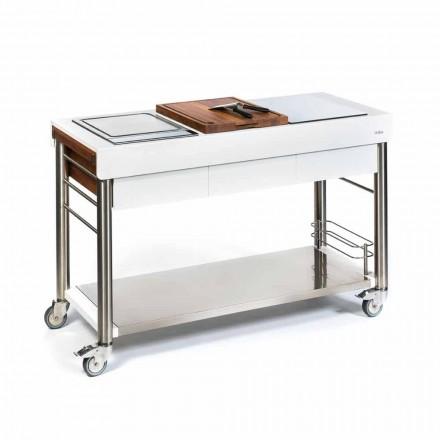 Utomhuskök på hjul av design, hög kvalitet i trä och stål - Calliope