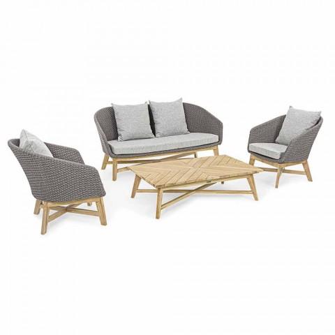 2-sits utomhussoffa i tyg med teakstruktur, Homemotion - Azeno