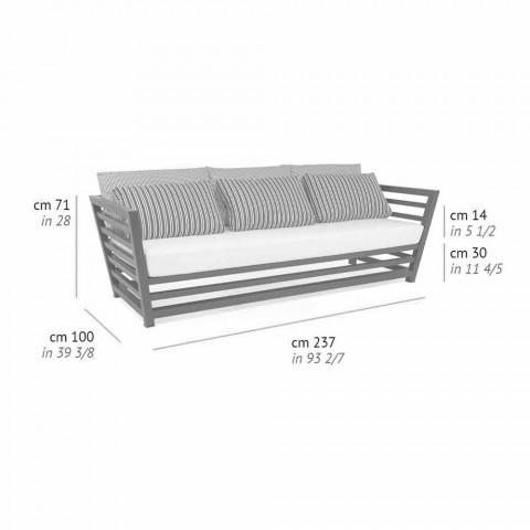 3-sits soffa utomhus i vita eller svarta kuddar av aluminium och blått - Cynthia