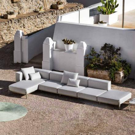 3-sits soffa utomhus i aluminium med puff och schäslong - Filomena