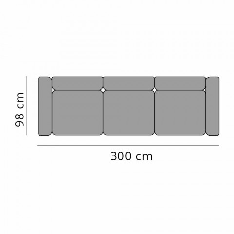 3-sits soffa utomhus i design aluminium och tyg i 3 ytor - Filomena