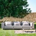 3-sitssoffa i aluminium och högkvalitativt tyg - Filomena