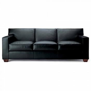 3 -sits soffa täckt i läder med valnötfötter tillverkade i Italien - Alessandria