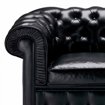 3 -sits soffa klädd i läder med lackade fötter tillverkade i Italien - Idra